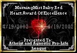 Ruby Red Heart Award Of Excellence